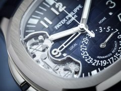Bei der Patek Philippe 1 Million Dollar Watch Replik Aquanaut Travel Time Ref 5650G Advanced Research zeigt ein Zifferblattauschnitt das neue Stellorgan